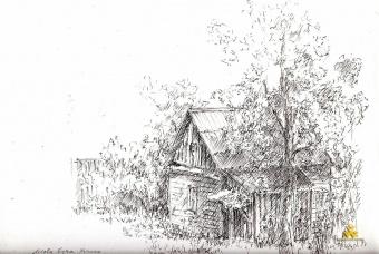 «Будинок Кобилянських», художник Галина Комічева, малюнок олівцем